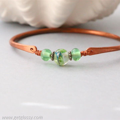 Copper and Green Lampwork Beads Bang