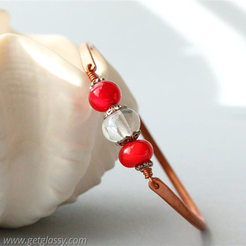 Copper and Red Lampwork Beads Bangle