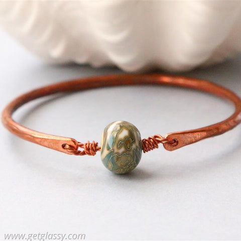 Copper and Olive Lampwork Beads Bangle