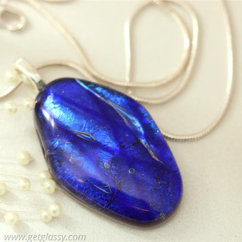 Blue Necklace Pendant Layered Dichroic Glass