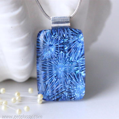 Dichroic Starburst Fused Glass Pendant Necklace
