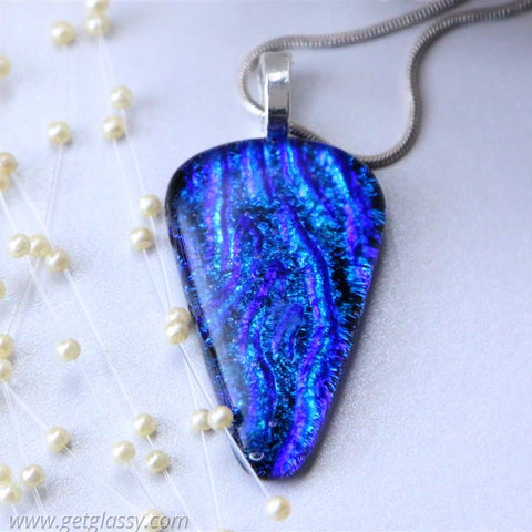 Dichroic Fused Glass Necklace Pendant Layered