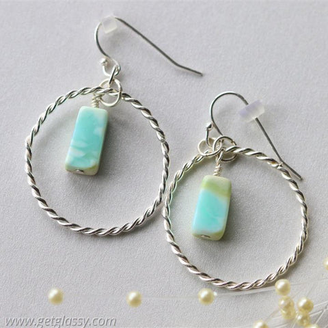 Sterling Silver Round Hoop Opal Earrings