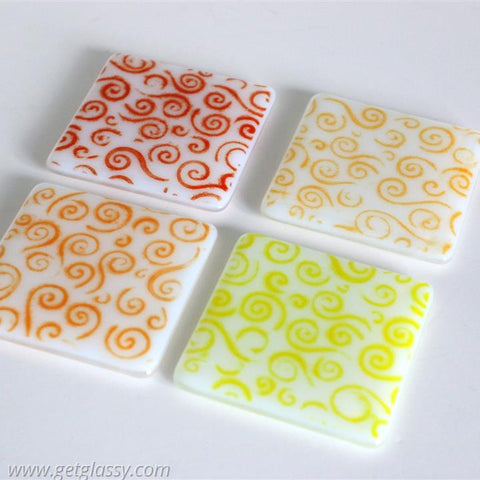 Warm Swirls Fused Glass Coasters