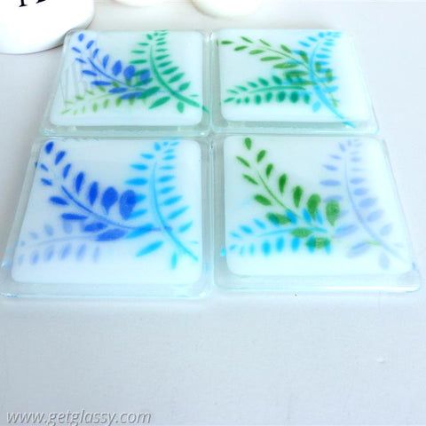 Ferns Fused Glass Coaster Set
