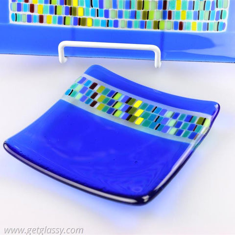Art Glass Fused Glass Soap Trinket Candle Dish