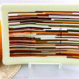 Autumn in Stripes Fused Glass Dish