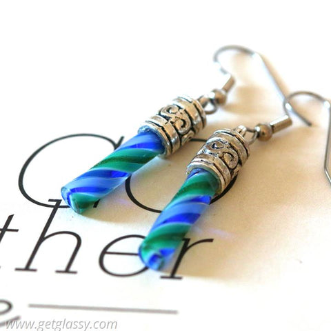 Unique Glass Cylinder Drop Earrings