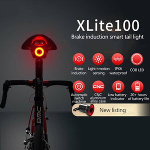 Bicycle Flashlight Bike Rear Light Auto Start/Stop Brake Sensing