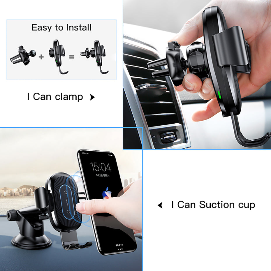 2 in1 Qi Wireless Car Charger for iPhone X XS XR Samsung S9