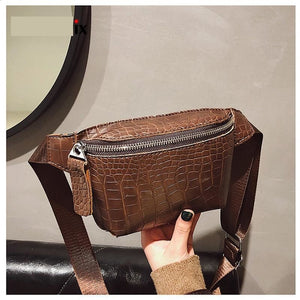 Alligator Leather Waist Belt Bag