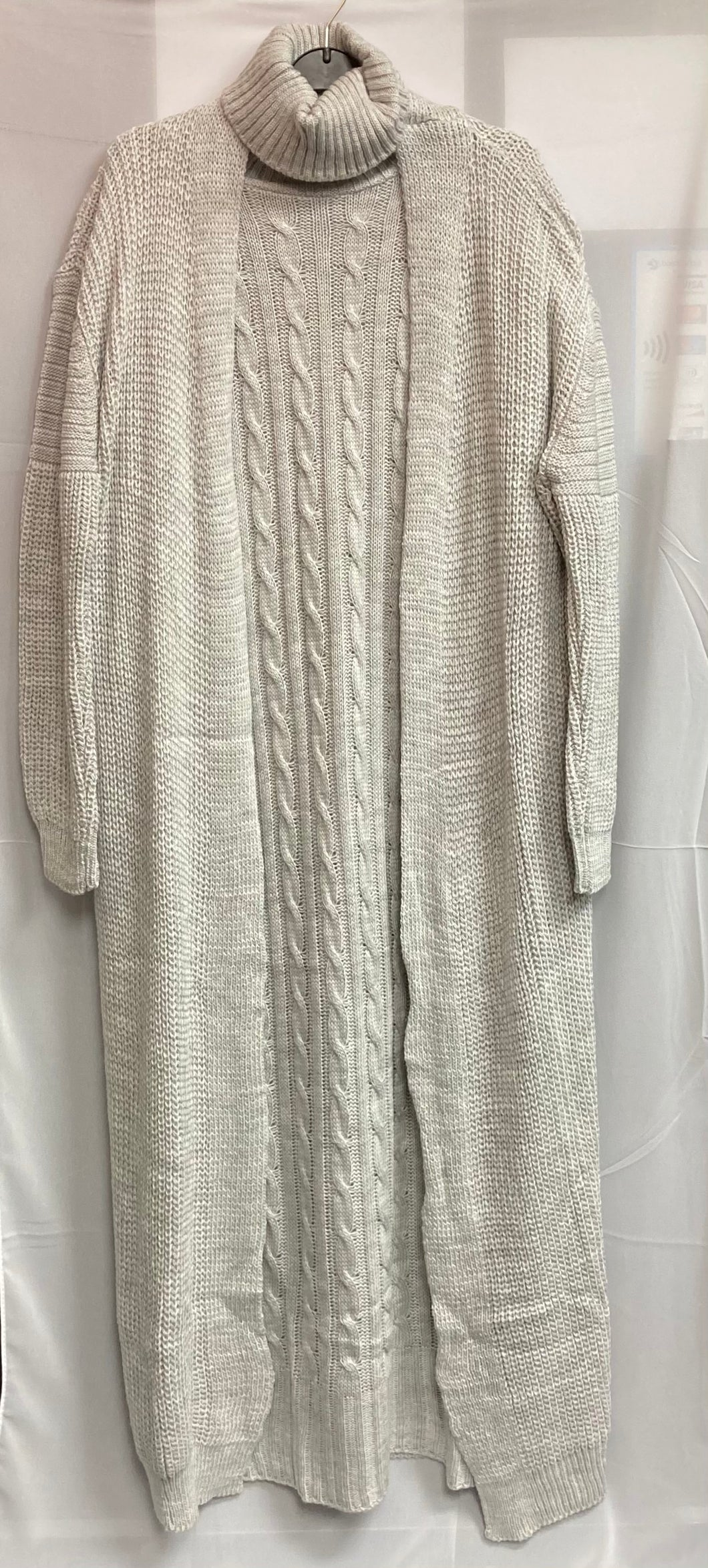 Knitted Dress & Cardigan - Light Grey