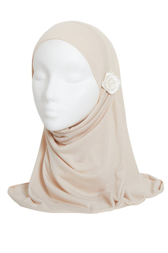 BEIGE GIRLS FLOWER HIJAB