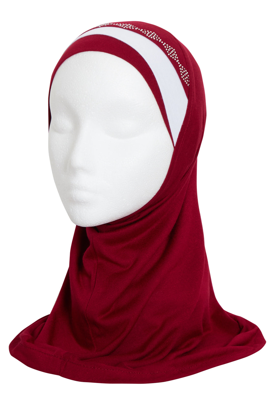 GIRLS MULBERRY/WHITE DIAMOND HIJAB