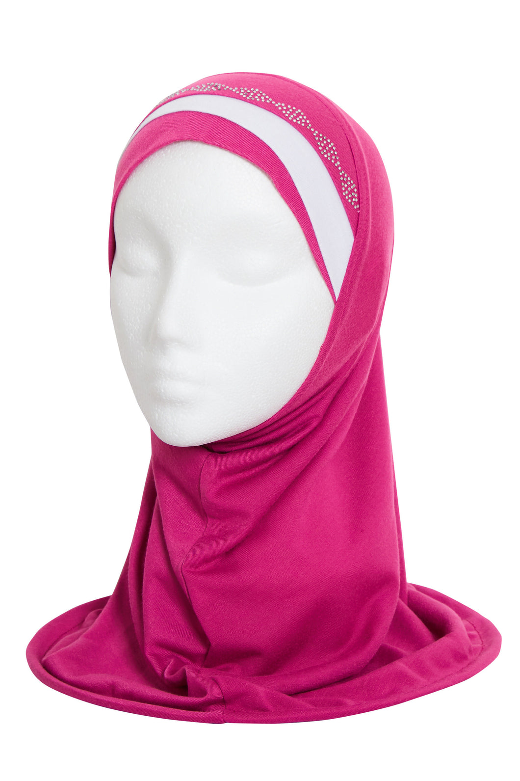 GIRLS MAGENTA/WHITE DIAMOND HIJAB