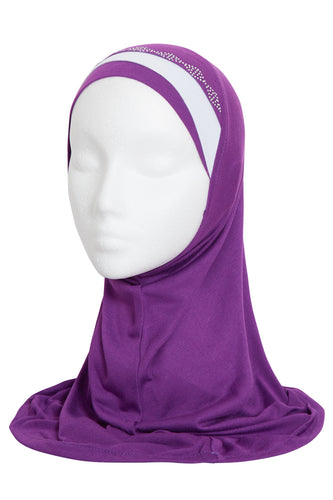 GIRLS VIOLET/WHITE DIAMOND HIJAB