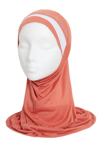 GIRLS DUSTY ROSE/WHITE DIAMOND HIJAB