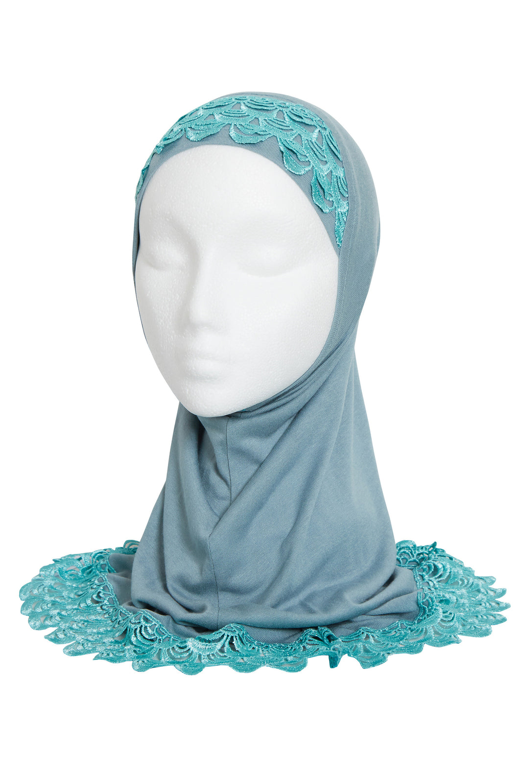 GIRLS DUCK EGG BLUE LACE HIJAB