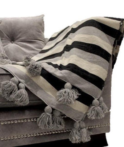MOROCCAN POM POM COTTON BLANKET BLACK/GREY/CREAM