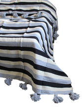 Load image into Gallery viewer, MOROCCAN POM POM COTTON BLANKET BLACK/GREY/CREAM
