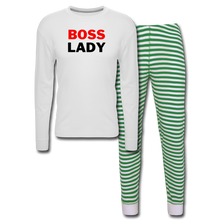 Load image into Gallery viewer, Boss Lady Unisex Pajama Set - white/green stripe