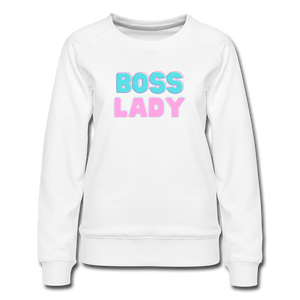 Boss Lady Women's Premium Sweatshirt - white
