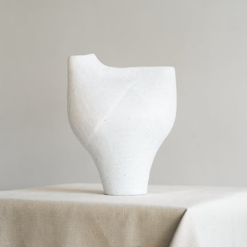White Sculptural Ceramic Double Mouth Vase