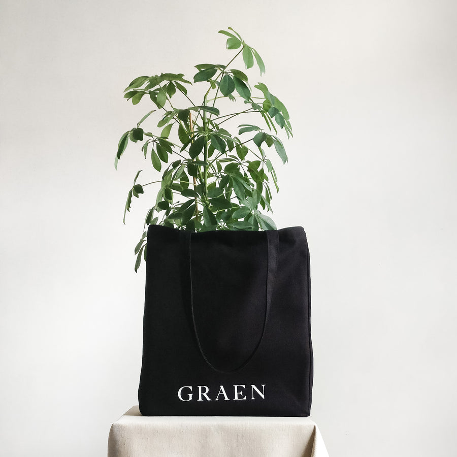Graen Studios Black Cotton Canvas Tote Bag