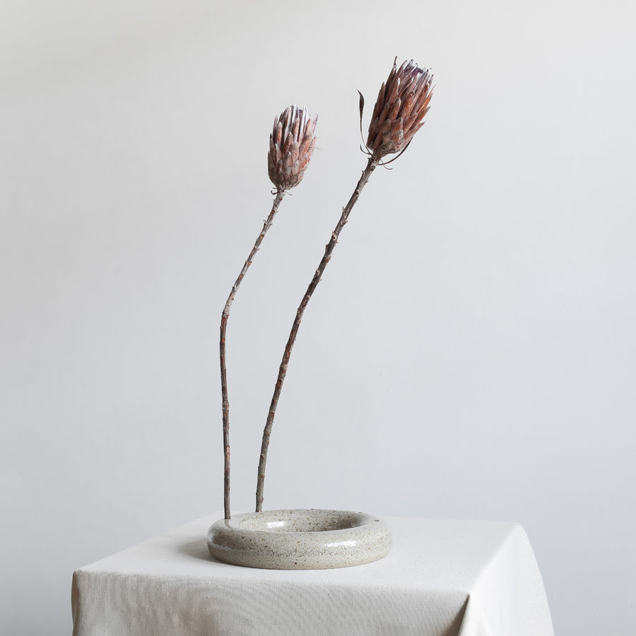 Minimal Glazed Ceramic Ikebana Circle Vase
