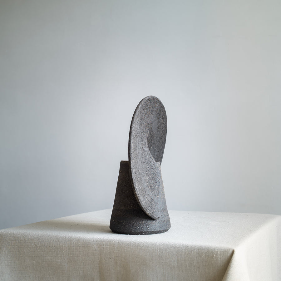 Black Sculptural Ceramic Rainbow Vase