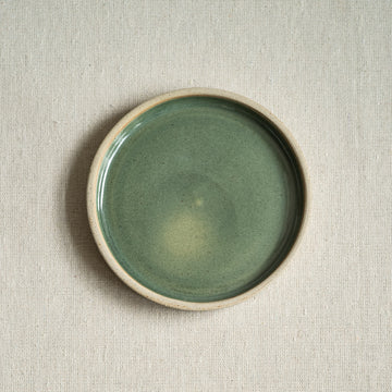 Small Ceramic Saucer with Sea Green Glaze