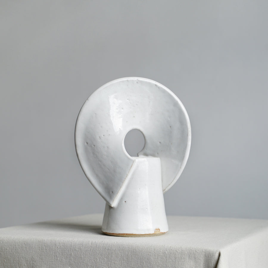White Sculptural Ceramic Rainbow Vase