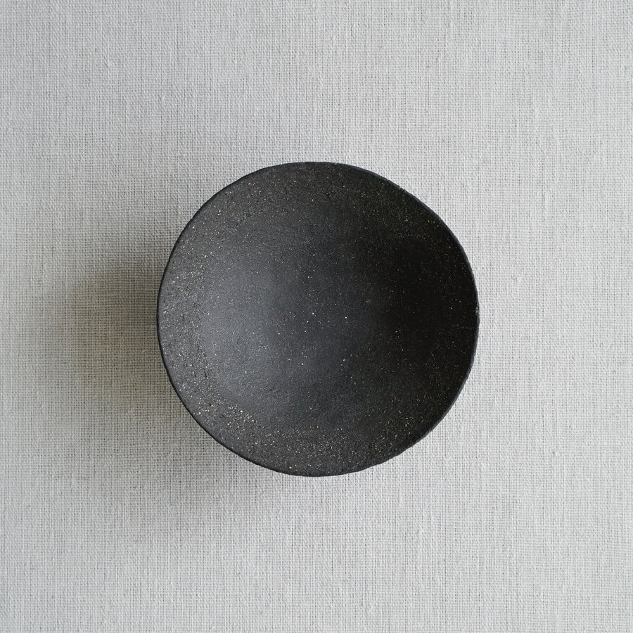 Small Vitrified Black Shallow Ikebana Bowl 01