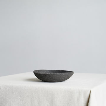 Small Vitrified Black Shallow Ikebana Bowl 03