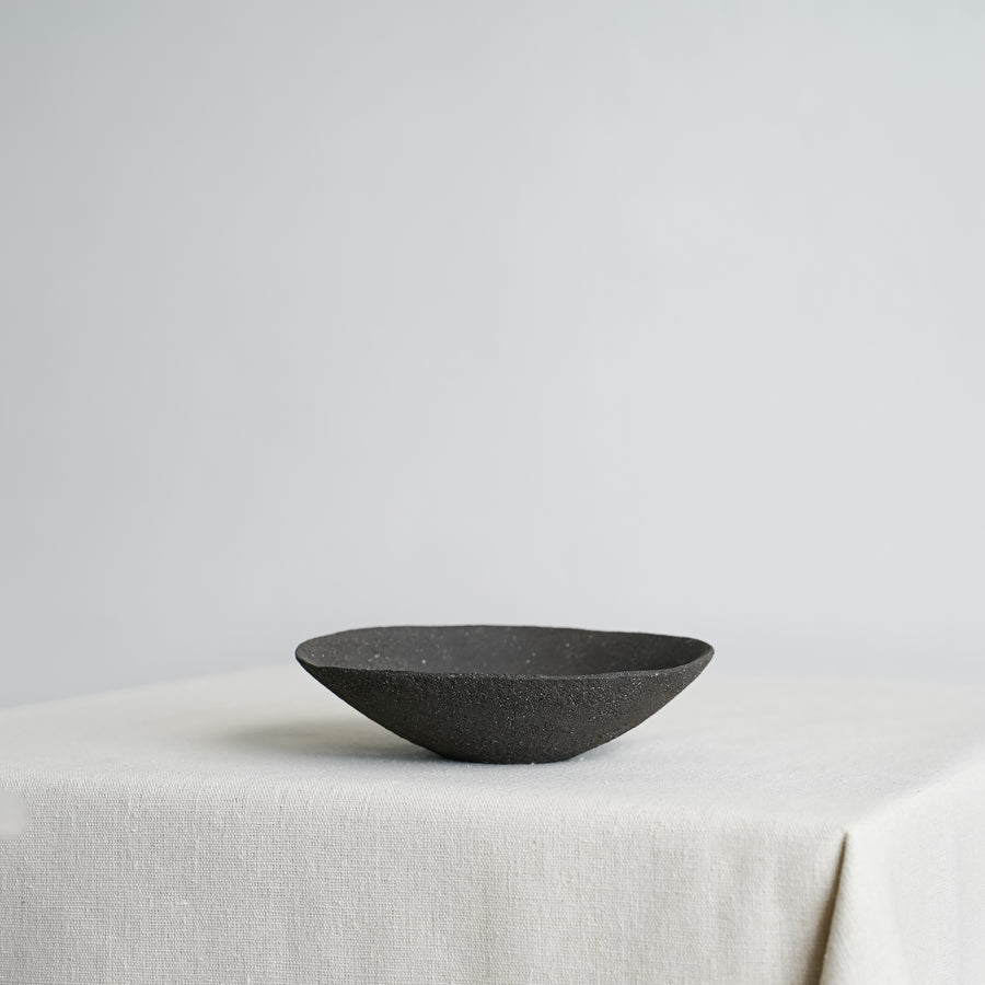 Small Vitrified Black Shallow Ikebana Bowl 04