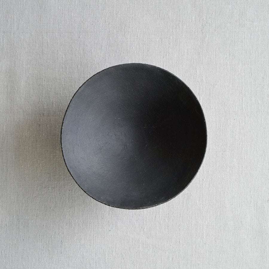 Small Vitrified Black Shallow Ikebana Bowl 05