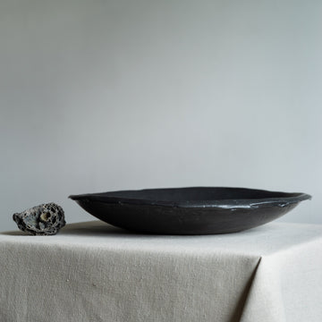 N01003 Large Black Ikebana Stoneware Bowl