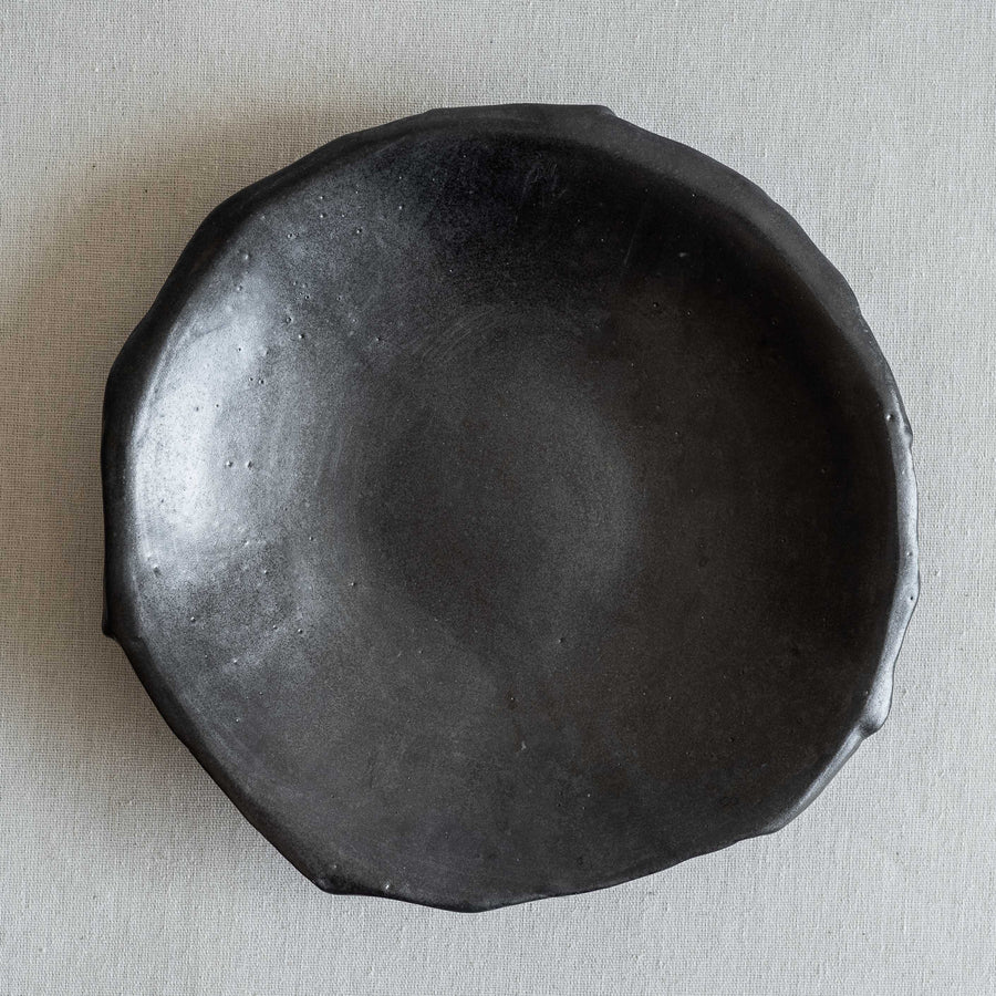 N01004 Medium Black Ikebana Stoneware Bowl