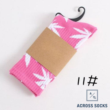 Maple Leaf Premium Cotton Socks Pink/white / One Size Socks