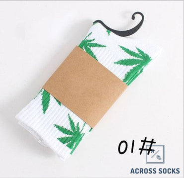 Maple Leaf Premium Cotton Socks White/green / One Size Socks