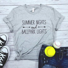 "Load image into Gallery viewer, ""Summer Nights And Ballpark Lights"" T-Shirt"