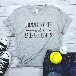 """Summer Nights And Ballpark Lights"" T-Shirt"