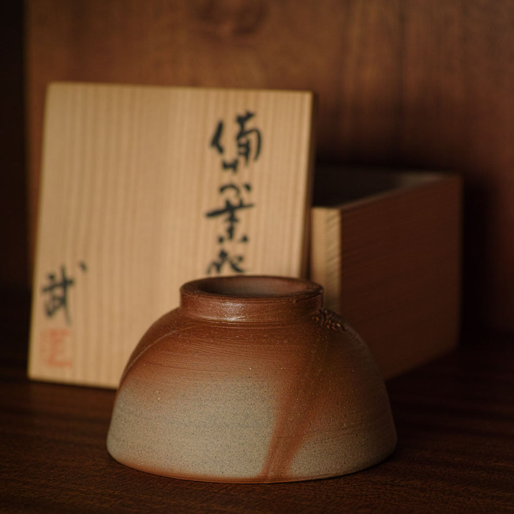 large sake cup made with bizen clay