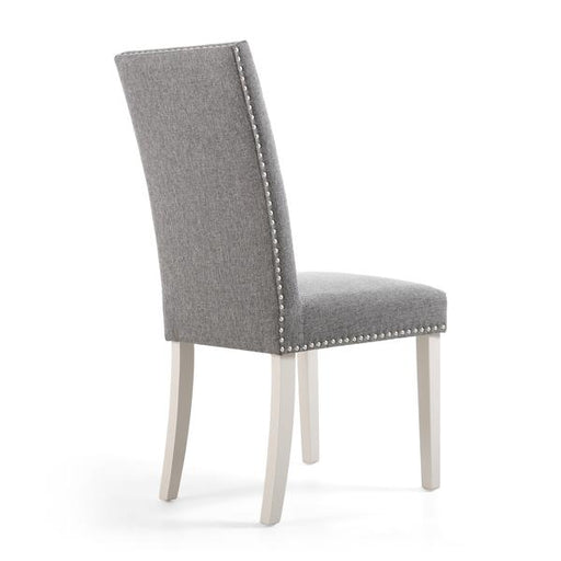 Shankar Randall Stud Detail Linen Effect Silver Grey Dining Chair with Cream Legs (2pk)