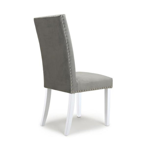 Shankar Randall Stud Detail Brushed Velvet Grey Dining Chair with White Legs (2pk)