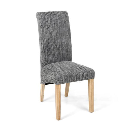 Shankar Karta Scroll Back Tweed Grey Dining Chair (2PK)