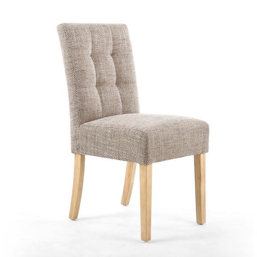 Shankar Moseley Stitched Waffle Back Tweed Oatmeal Dining Chair with Natural Legs (2pk)