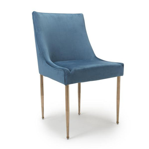 Shankar Earl Brushed Velvet Caribbean Blue Dining Chair