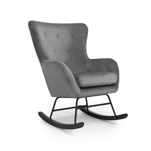 Shankar Alpine Brushed Velvet Grey Rocking Chair