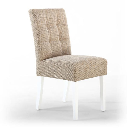 Shankar Moseley Stitched Waffle Back Tweed Oatmeal Dining Chair with White Legs (2pk)